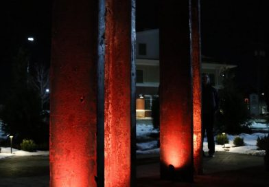 Memorial project complete, lighting ceremony this past Monday….